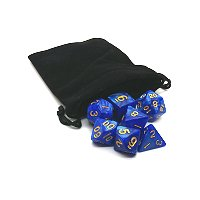 Blue Dice with Gold Numbers