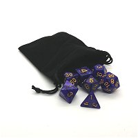 Purple Dice with Gold Numbers
