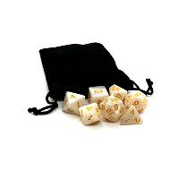 White Dice with Gold Numbers